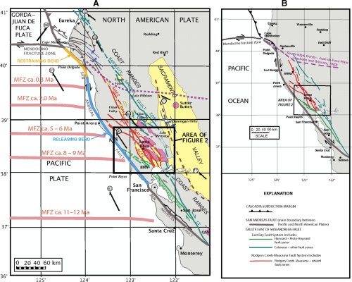 small resolution of maps showing the regional setting of the rodgers creek maacama fault system and the san andreas fault in northern california a the maacama mafz and