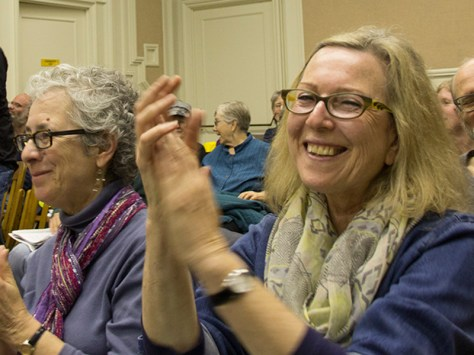 Residents applaud at Berkeley City Hall, following a vote in March 2014, opposing a proposed crude-by-rail project.