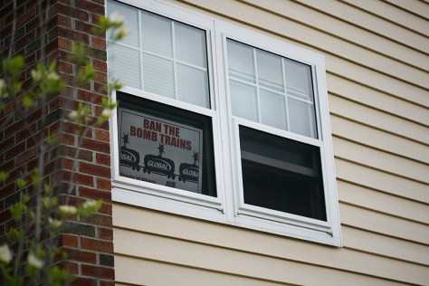 A sign in one of the windows at Ezra Prentice Homes.