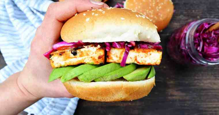 BBQ Tofu Sandwich with Tangy Red Cabbage Slaw