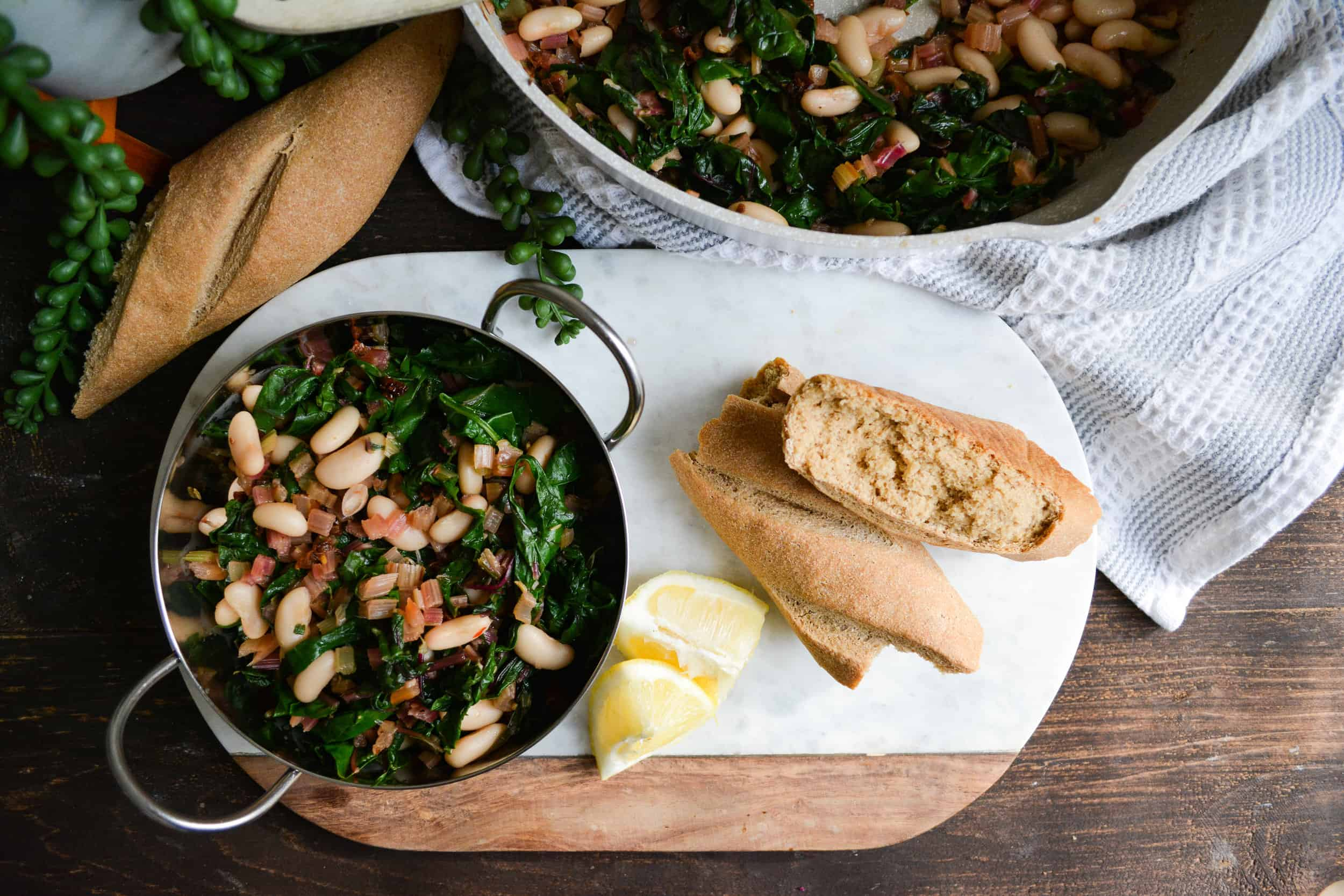 One Pan Meal: Garlicky Swiss Chard with White Beans