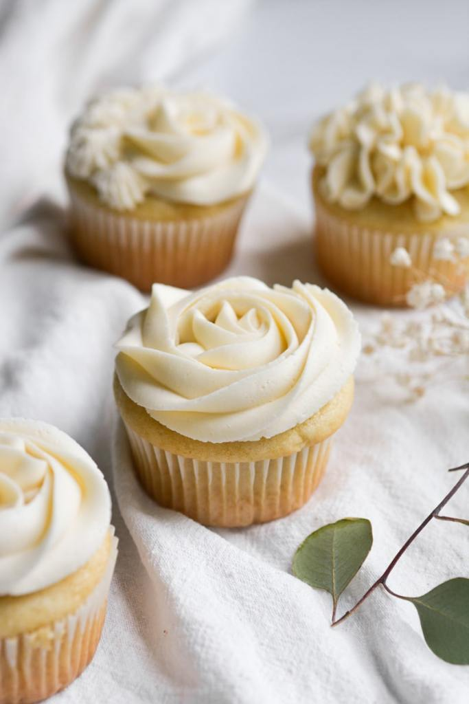 Cupcake frosted with vegan vanilla frosting