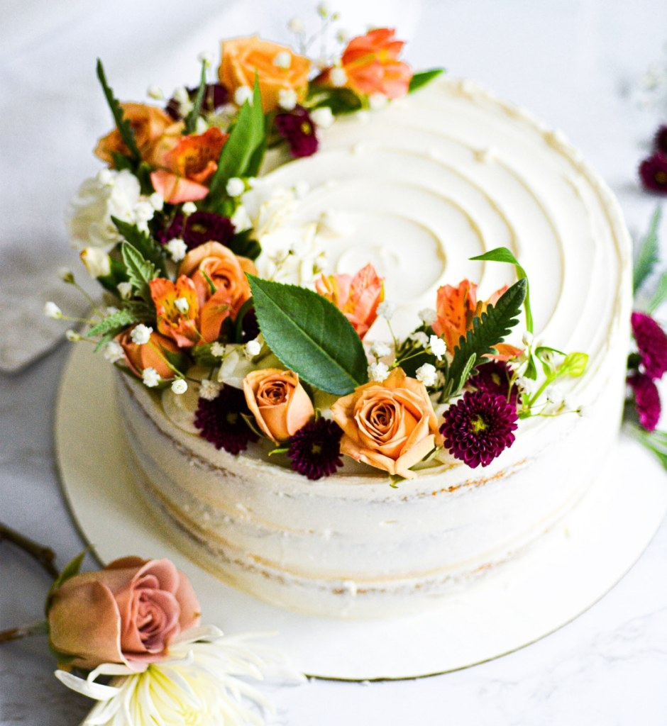 Cake frosted with vegan buttercream