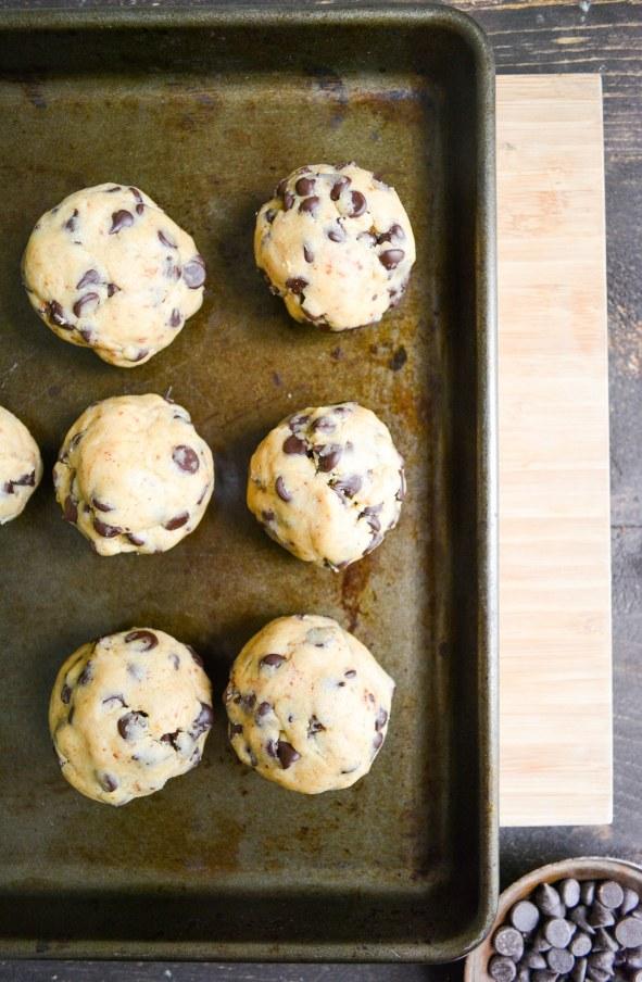 Dough balls on a baking tray