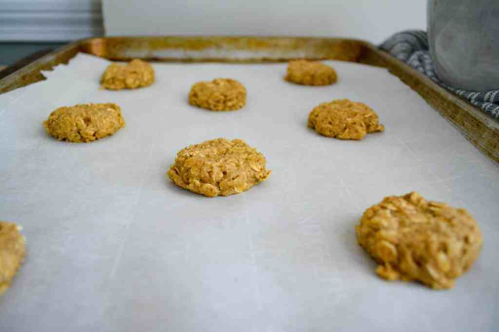 Pressed down oatmeal cookie dough