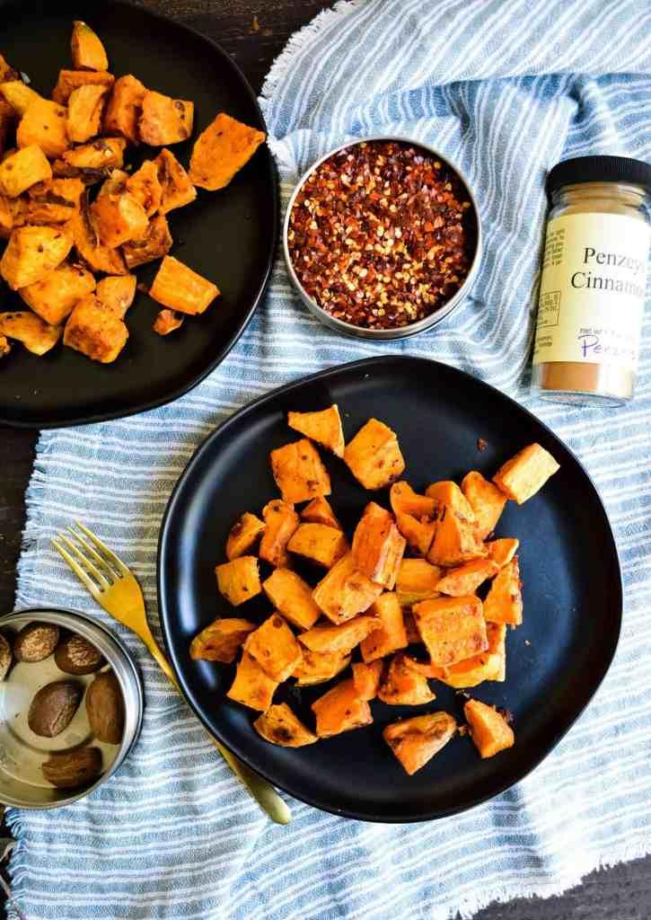 Portrait of roasted sweet potatoes