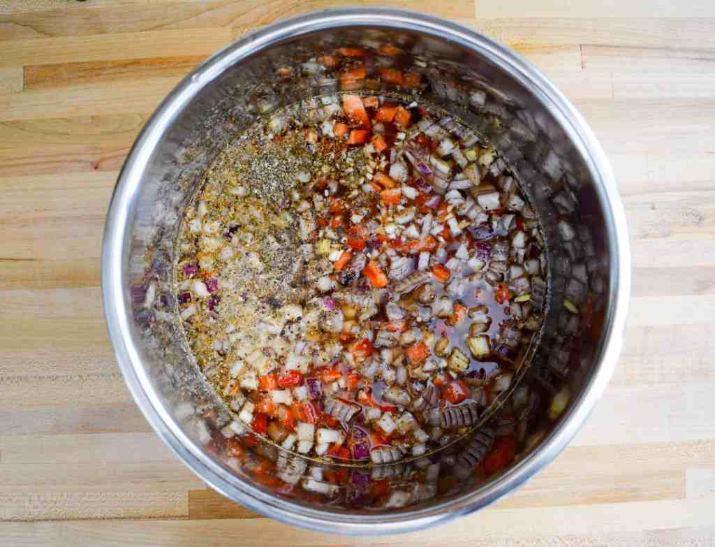 black bean chili ready to be cooked