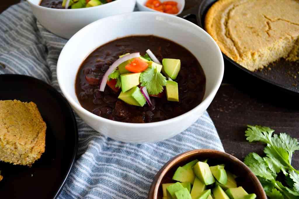 Bowl of instant pot black bean chili