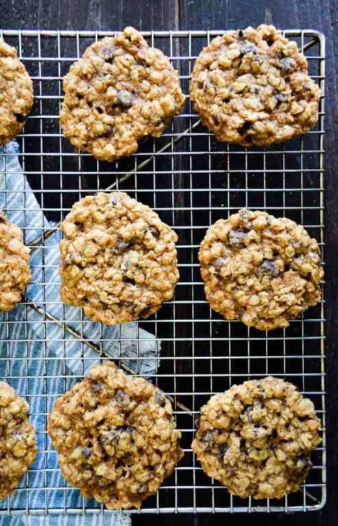 Gluten Free Oatmeal Chip Cookies on cooling rack