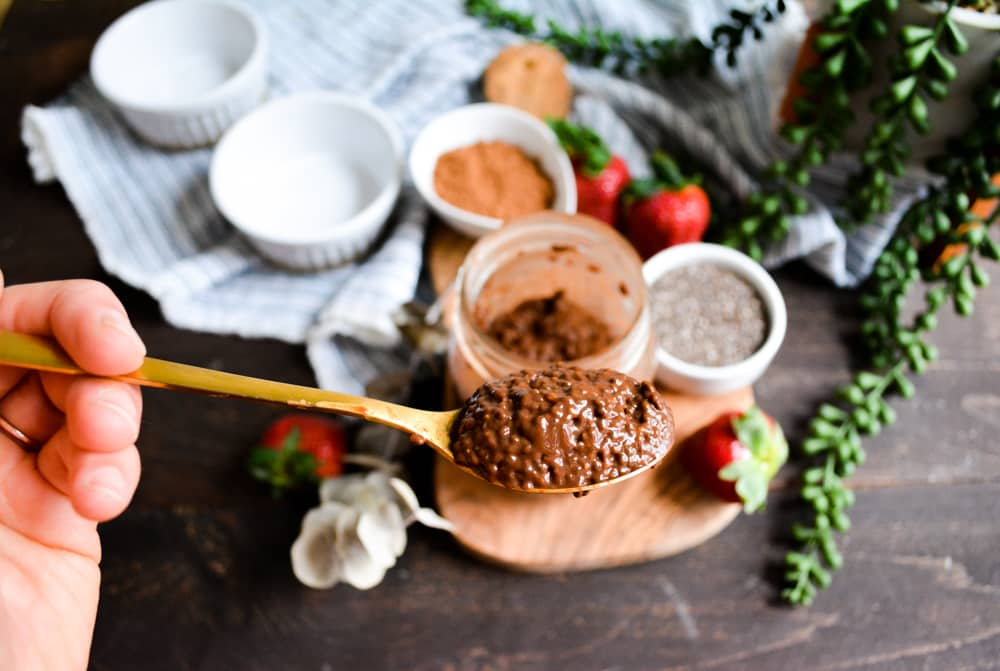 Close up of Chocolate Chia pudding texture