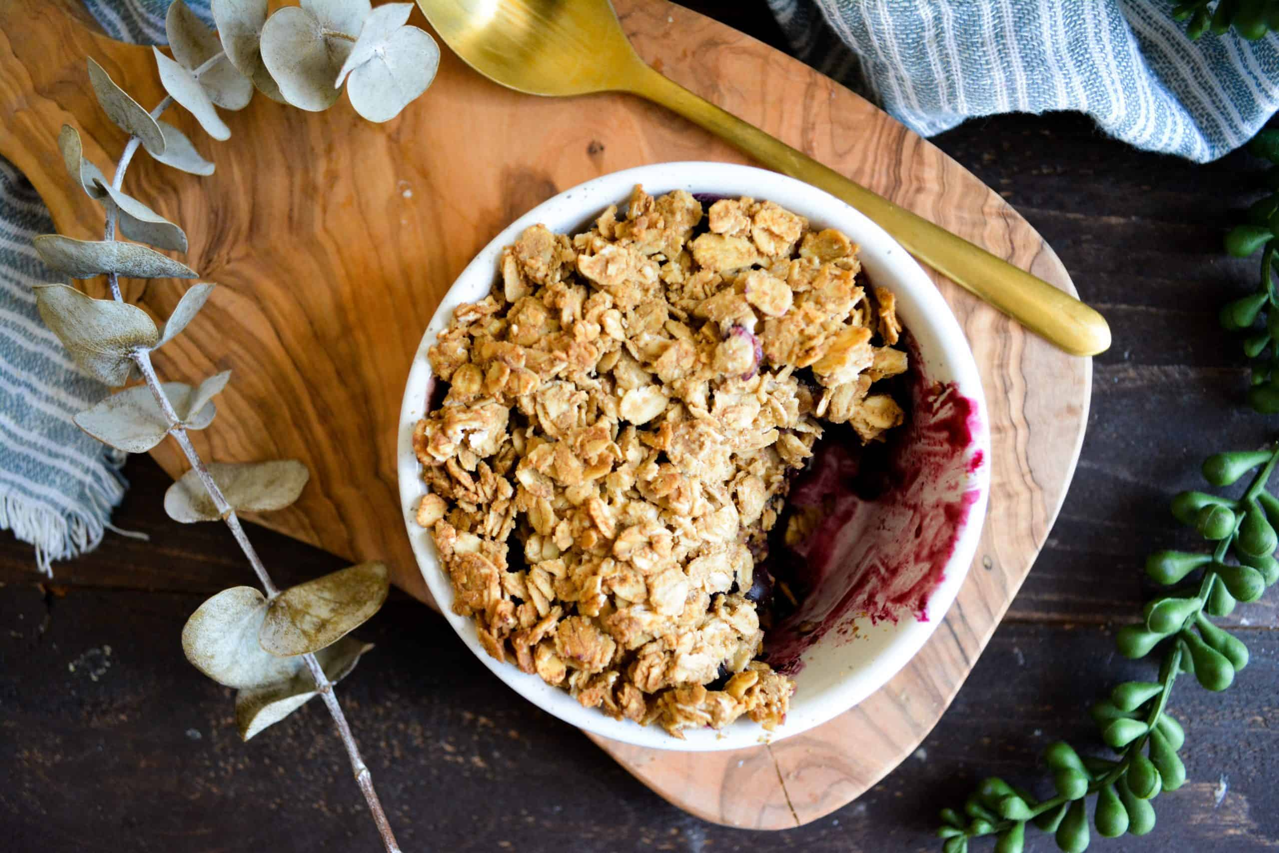 Healthy Berry Crisp for One