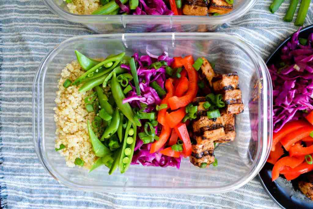 Meal prepped grain bowls