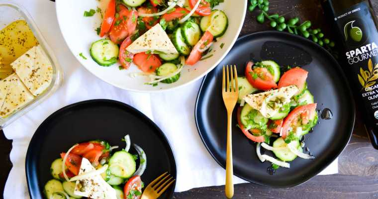 Rustic Greek Village Salad with Marinated Tofu Feta