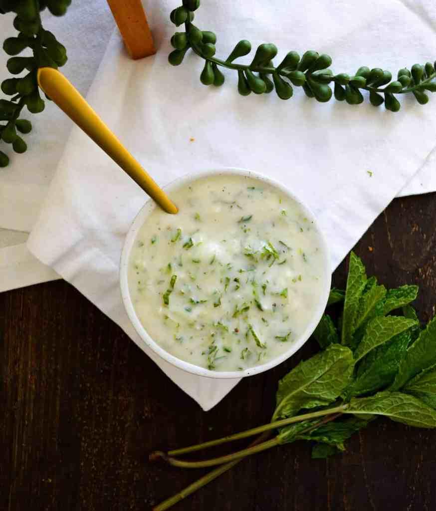 Tzatziki in a ramekin with mint