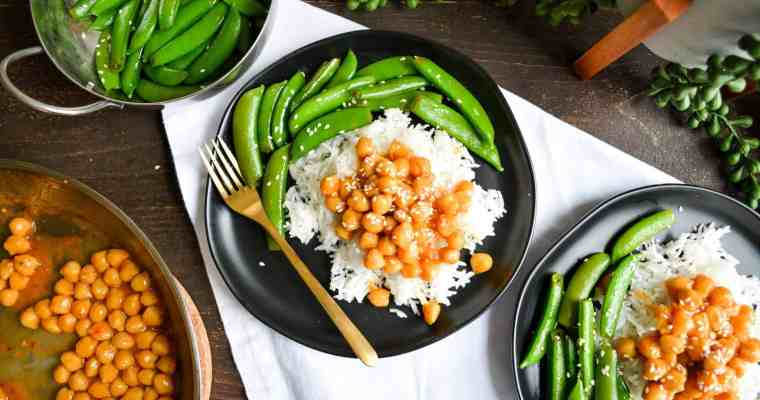 Sticky, Sweet + Spicy Chickpeas