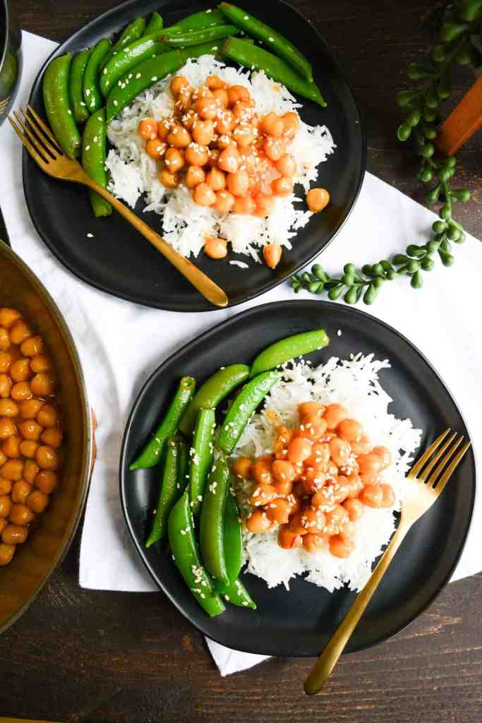 Portrait of Chickpeas over rice