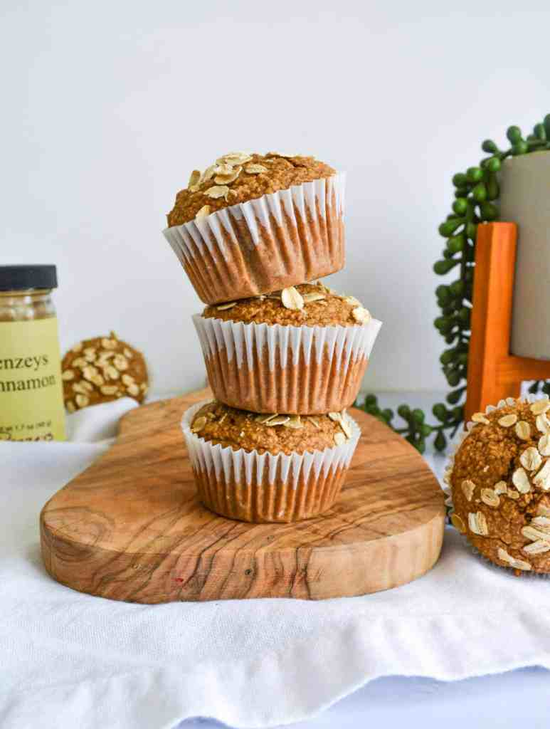 A stack of Gluten-Free Cinnamon Oat Muffins