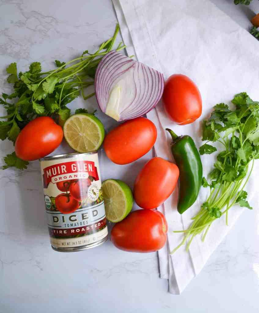 Tomatoes, onion, jalapeno flat lay