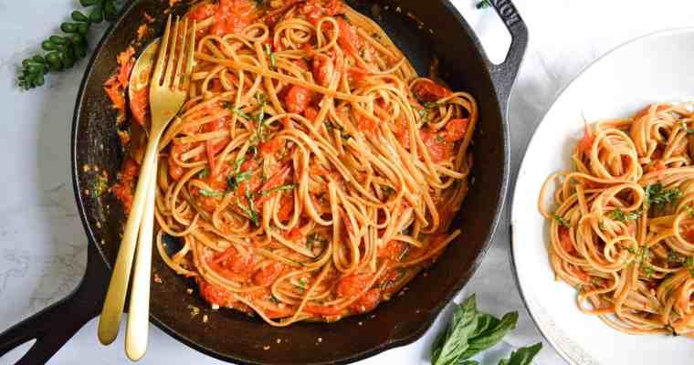 Burst Cherry Tomato + Basil Pasta