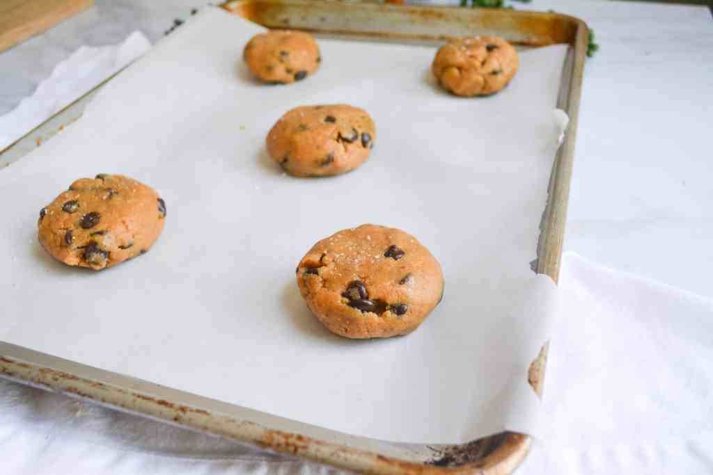 Cookies on a metal sheet pan