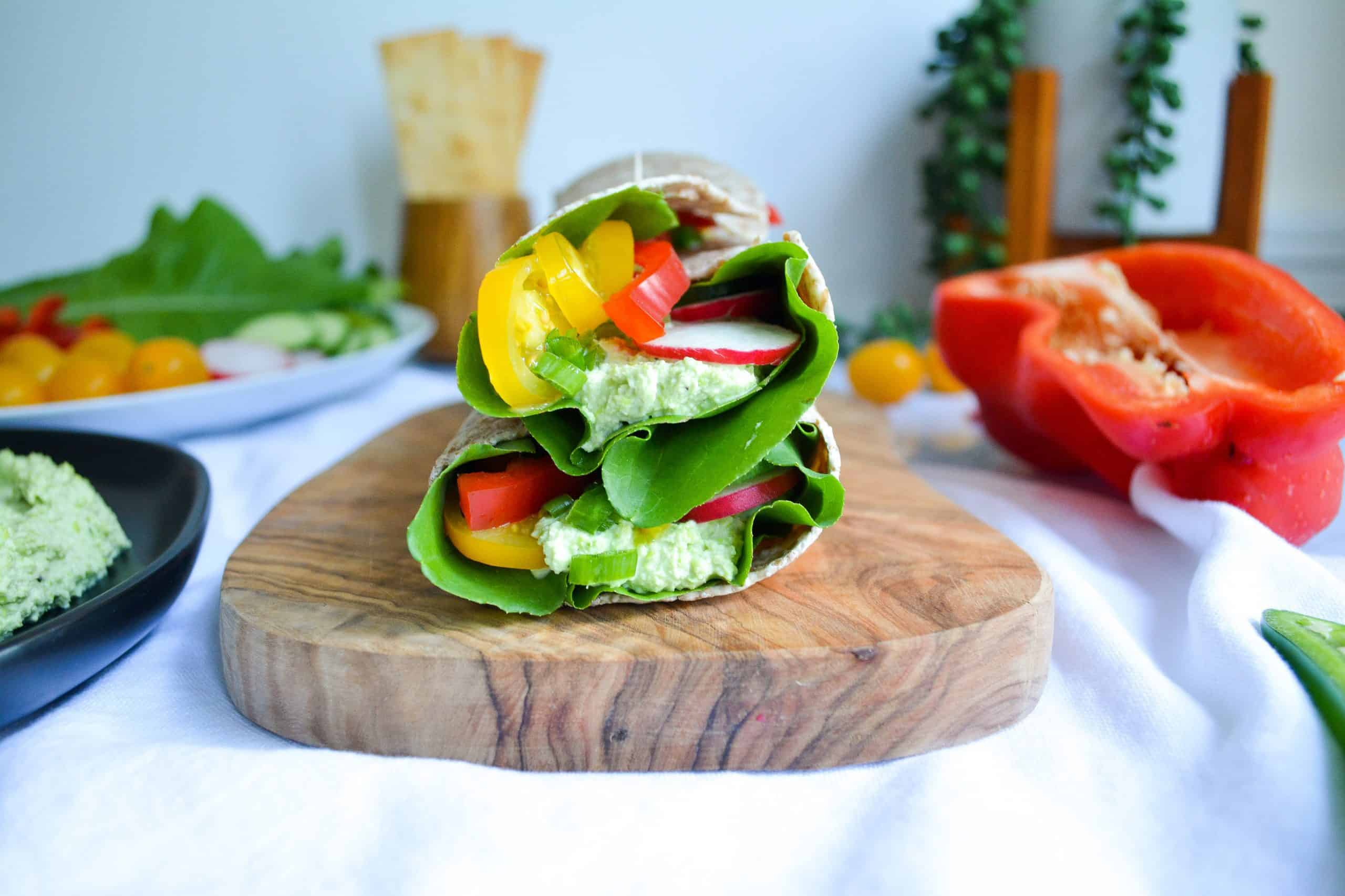 10-Minute Hummus + Veggie Wraps