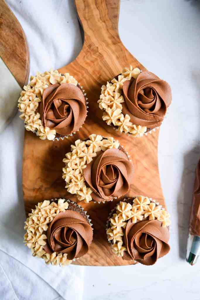One-Bowl Chocolate Cupcakes on a wooden board