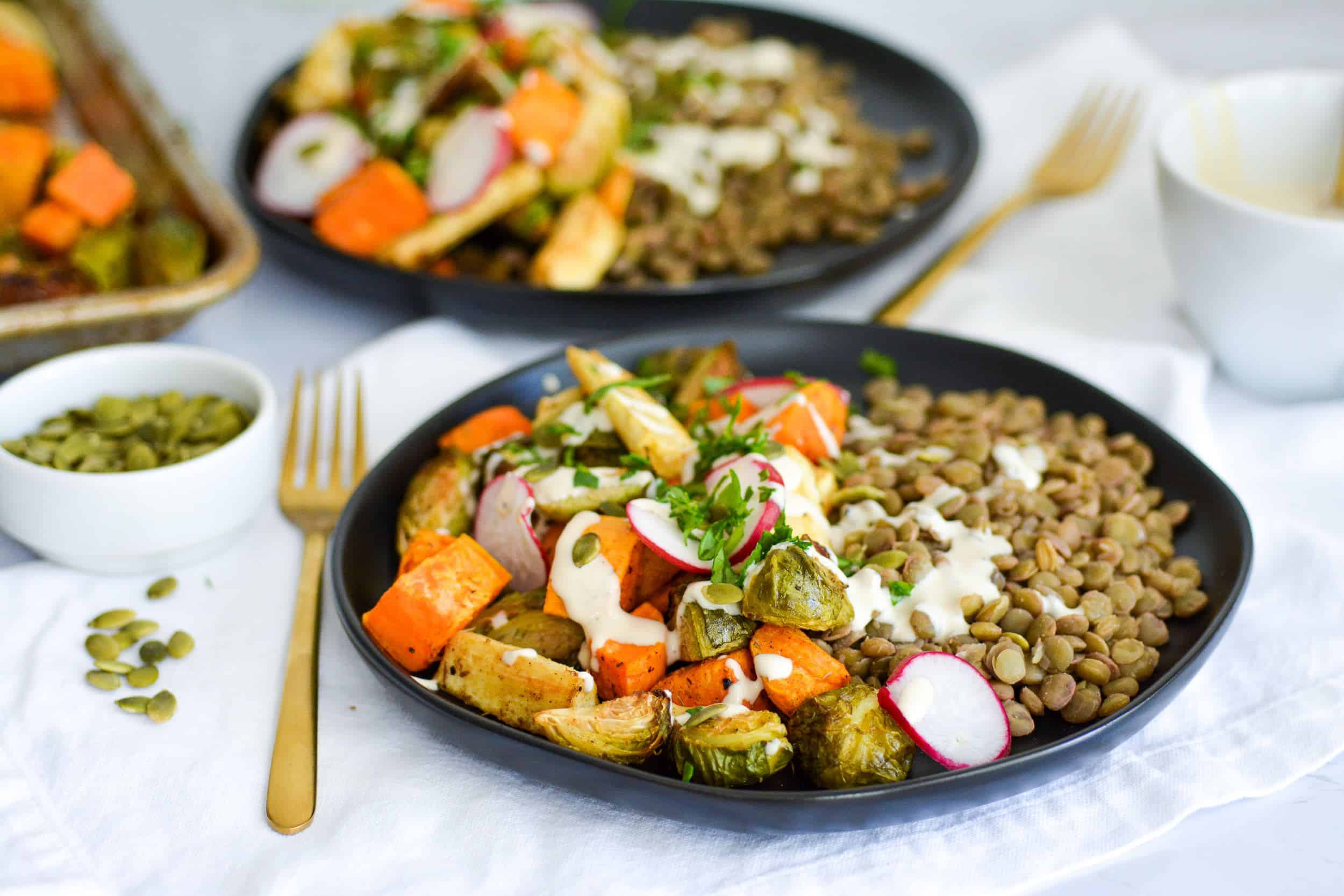 Easy Herb Roasted Autumn Harvest Bowls