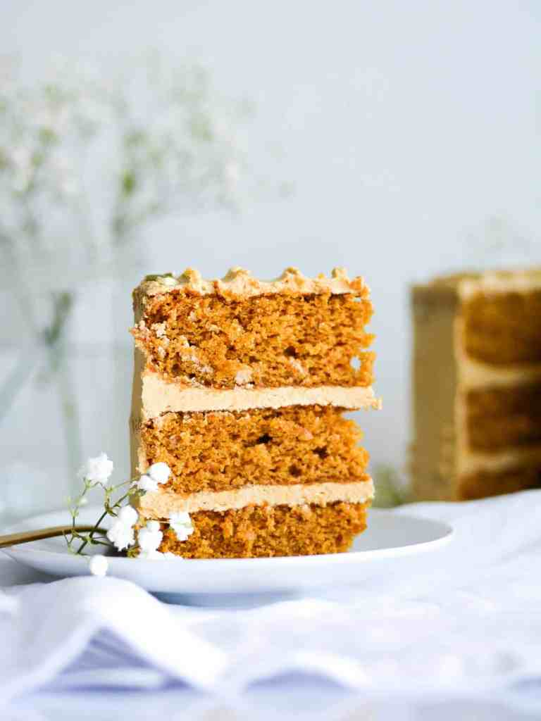 A slice of The BEST Pumpkin Spice Cake