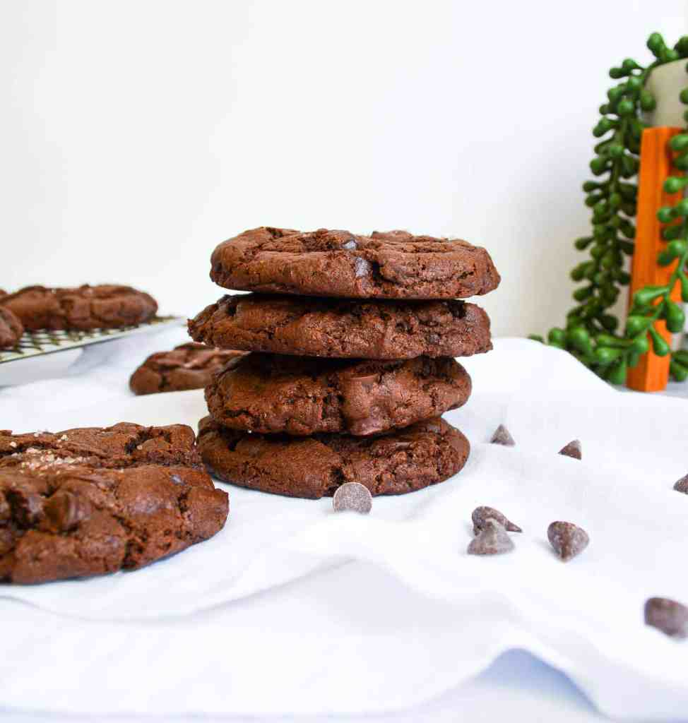 Stack of Vegan Double Chocolate Cookie on a white cloth