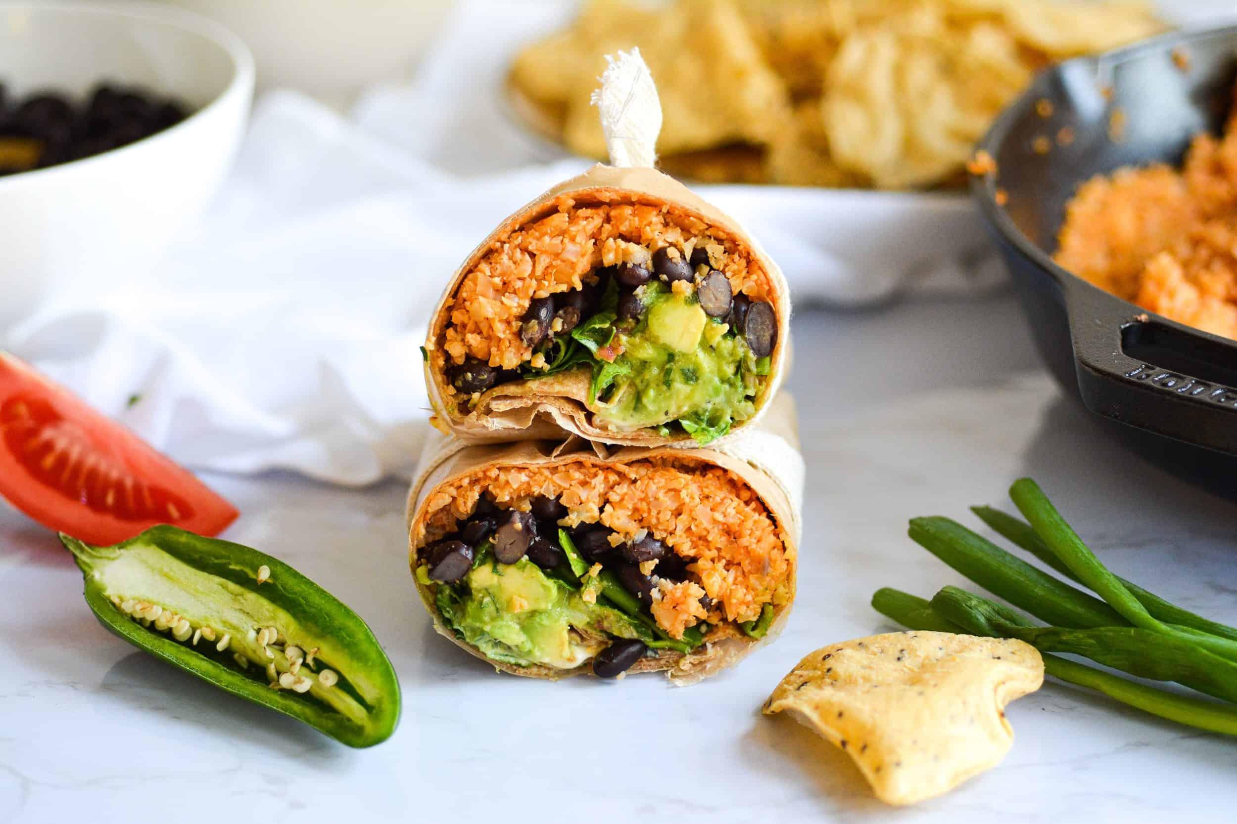 Buffalo Cauliflower Rice Burritos with Ranch and Guac