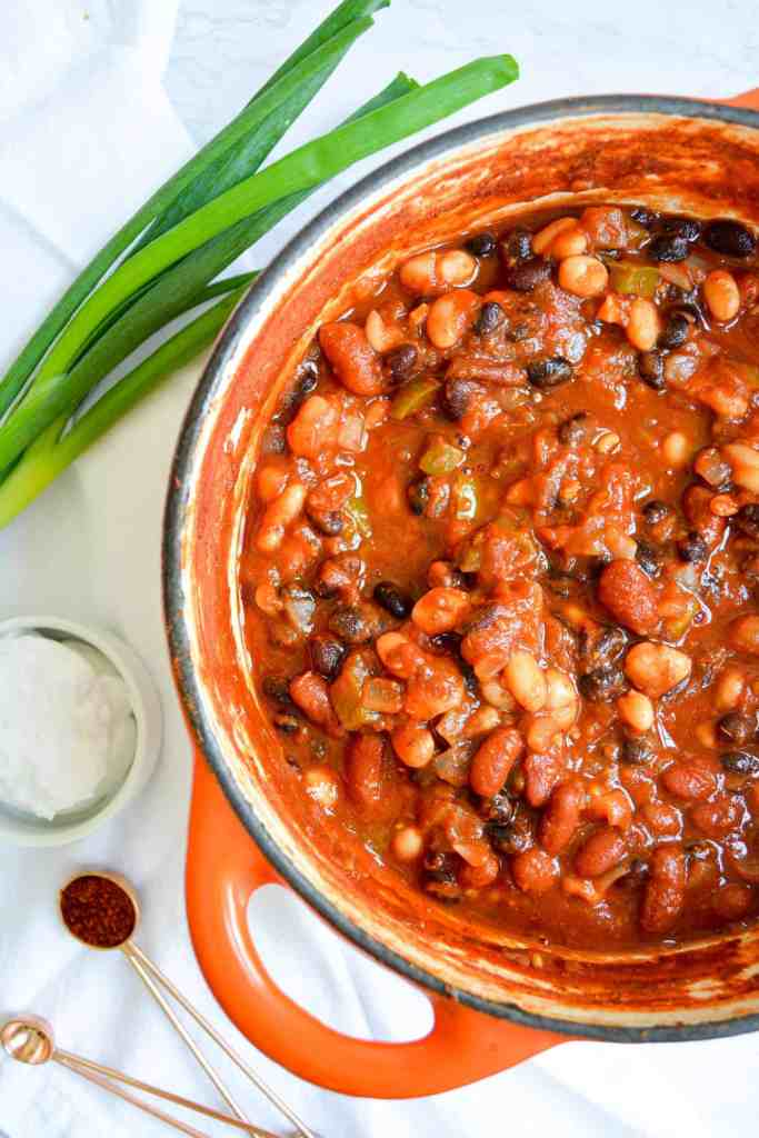 Chili in a dutch oven with scallion