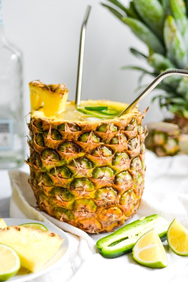 A pineapple filled with margarita