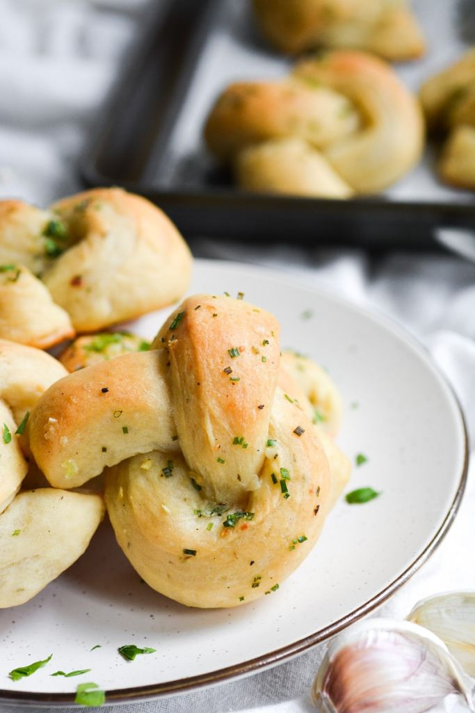 Close up of garlic knots on a plate
