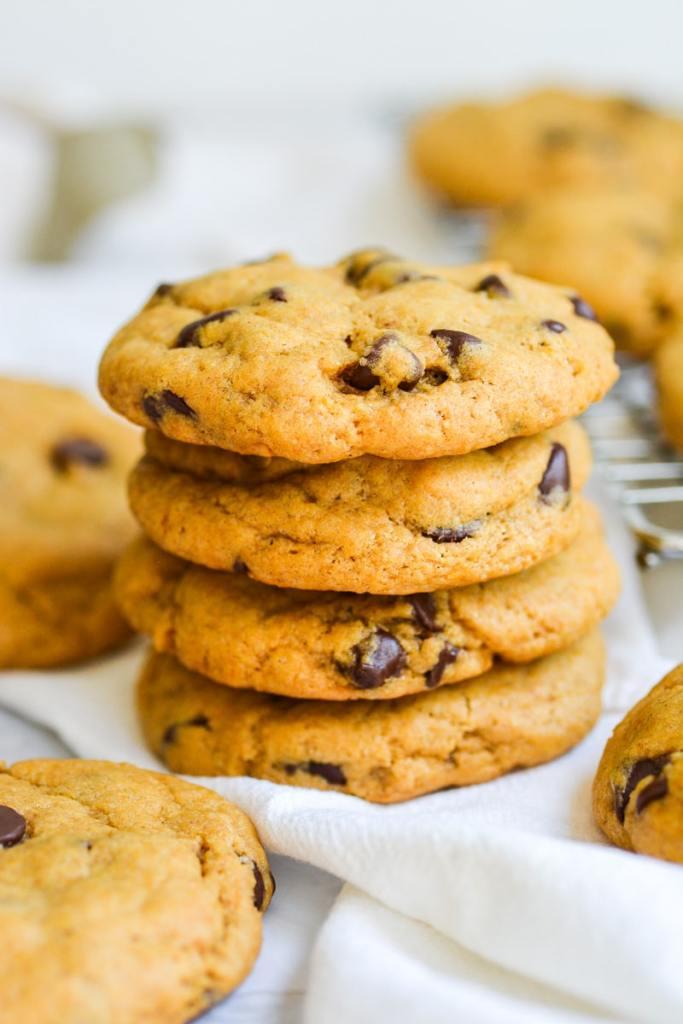 Partrait stack of vegan pumpkin chocolate chip cookies
