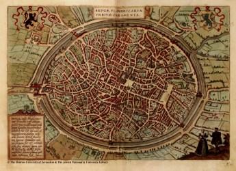 medieval map maps cities brugge bruges belgium braun historic plan flanders castle drawn hogenberg hand huji ac il towns land