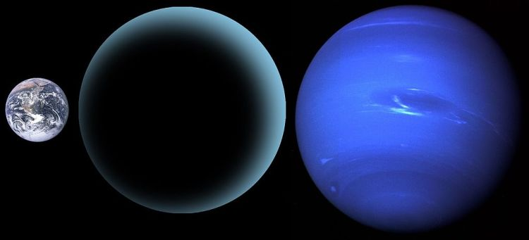 planet Nine compared to Neptune and Earth