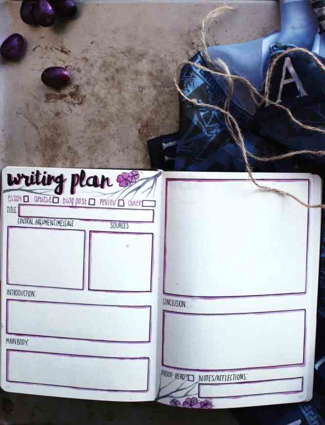 Bullet journal for writing