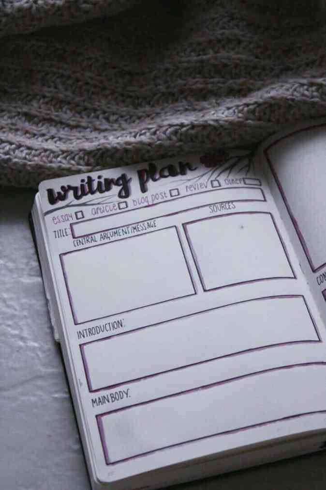 Bullet journal writing plan