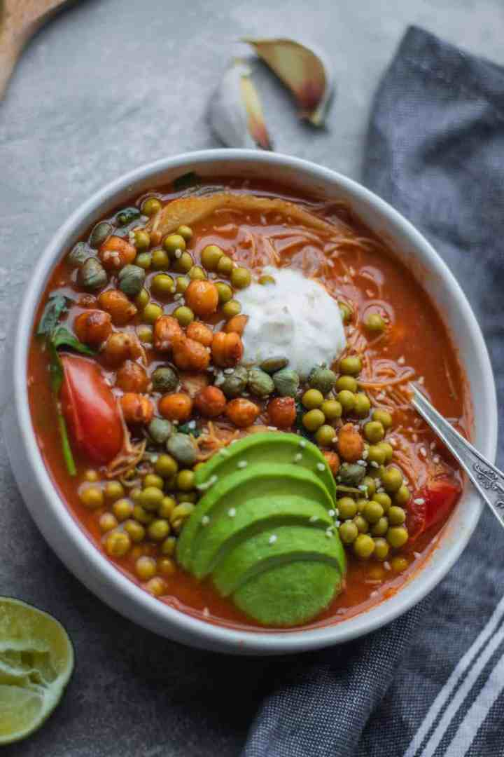 Chickpea vegetable rice noodle soup vegan