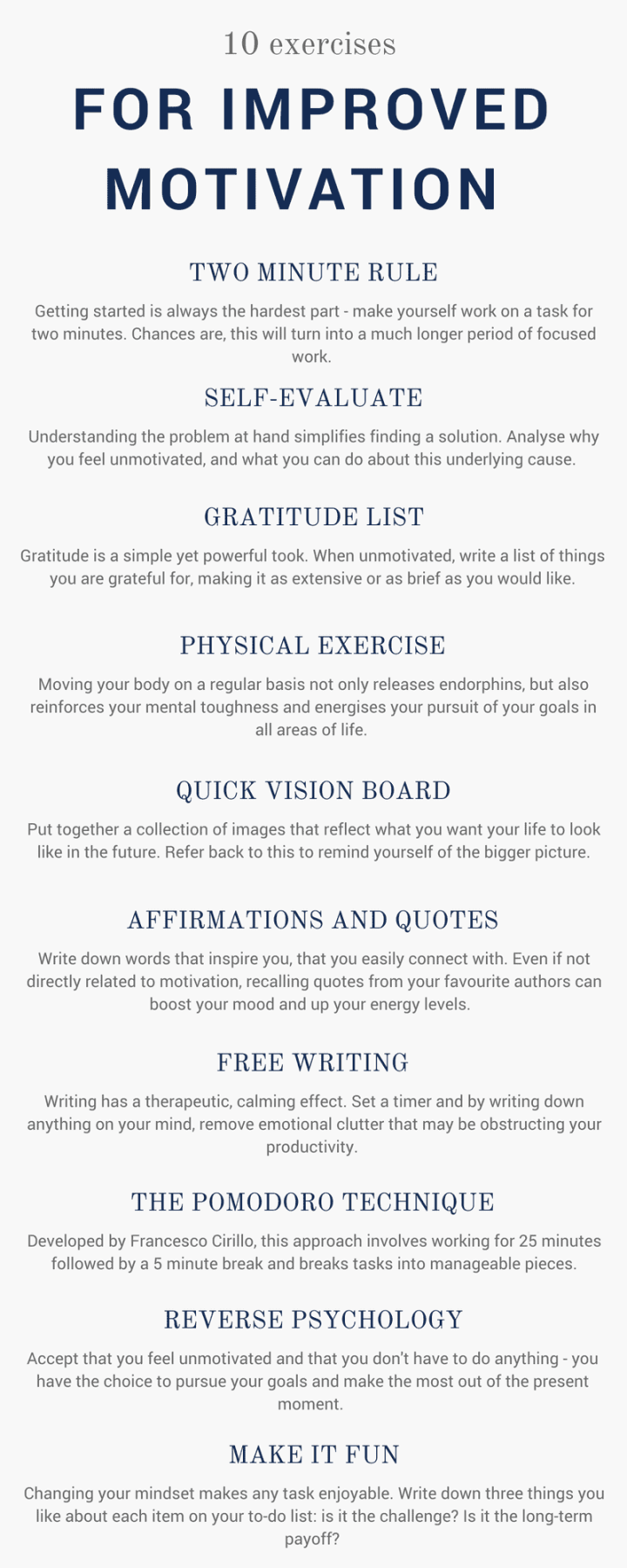 Ten exercises to boost your motivation, get out of a slump and energise your workflow - read more at INACCORDANCE