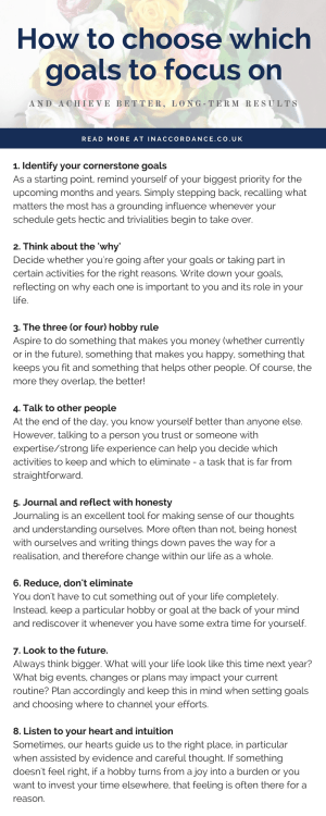 How to choose which goals to focus on and achieve better, long-term