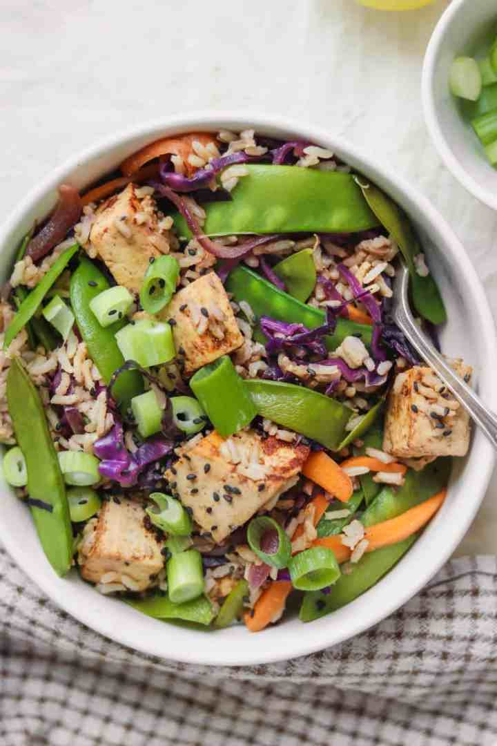 Almond tofu rice stir-fry with vegetables