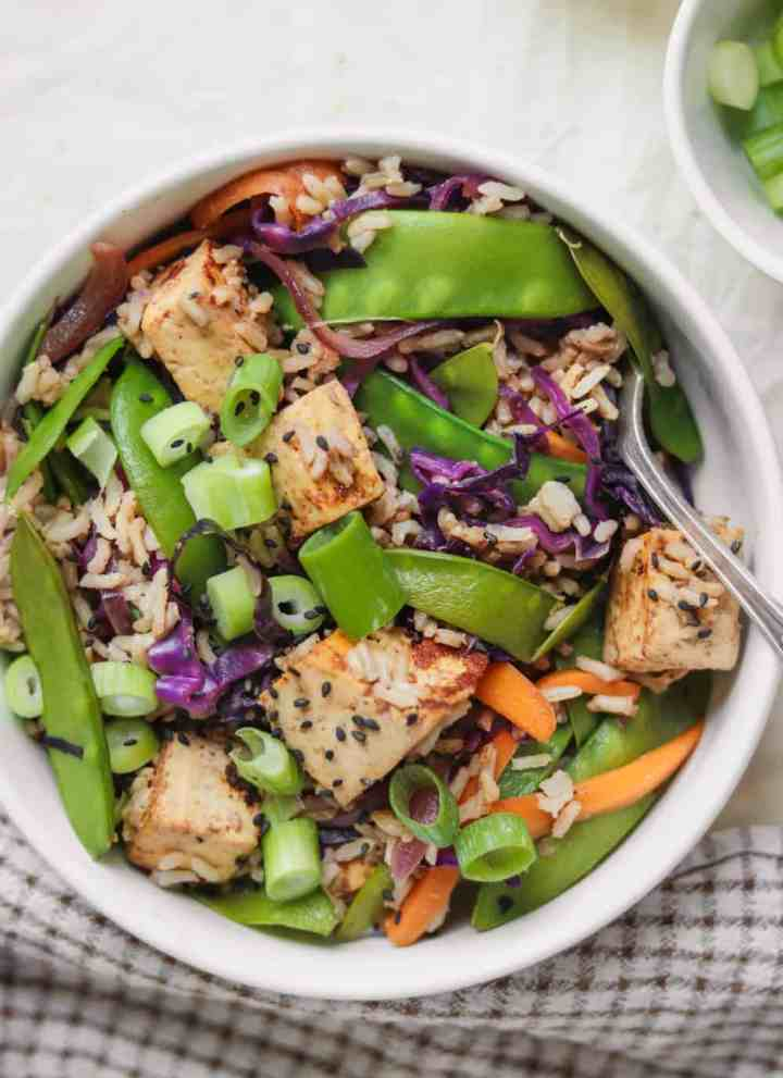 Sweet Almond Tofu Rice Stir-fry