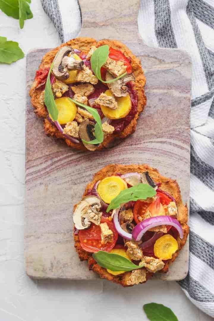Vegan sweet potato mini pizzas with tempeh