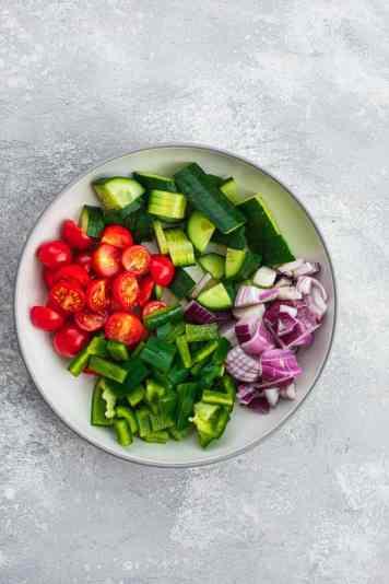 Bowl of salad vegetables
