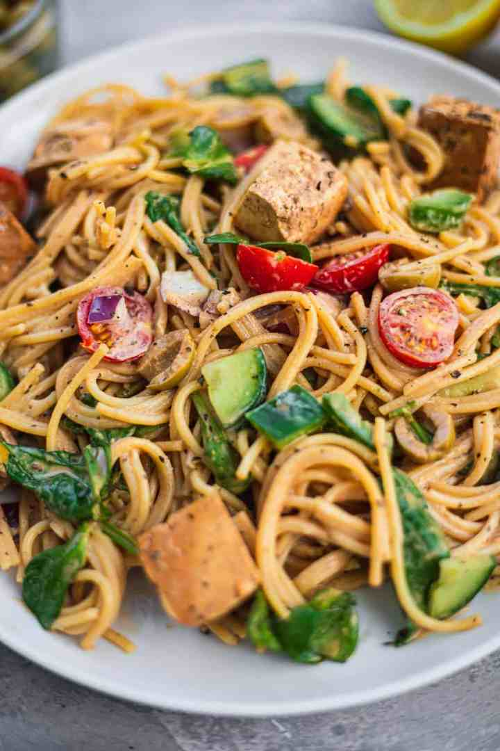Plate of spaghetti salad with vegetables