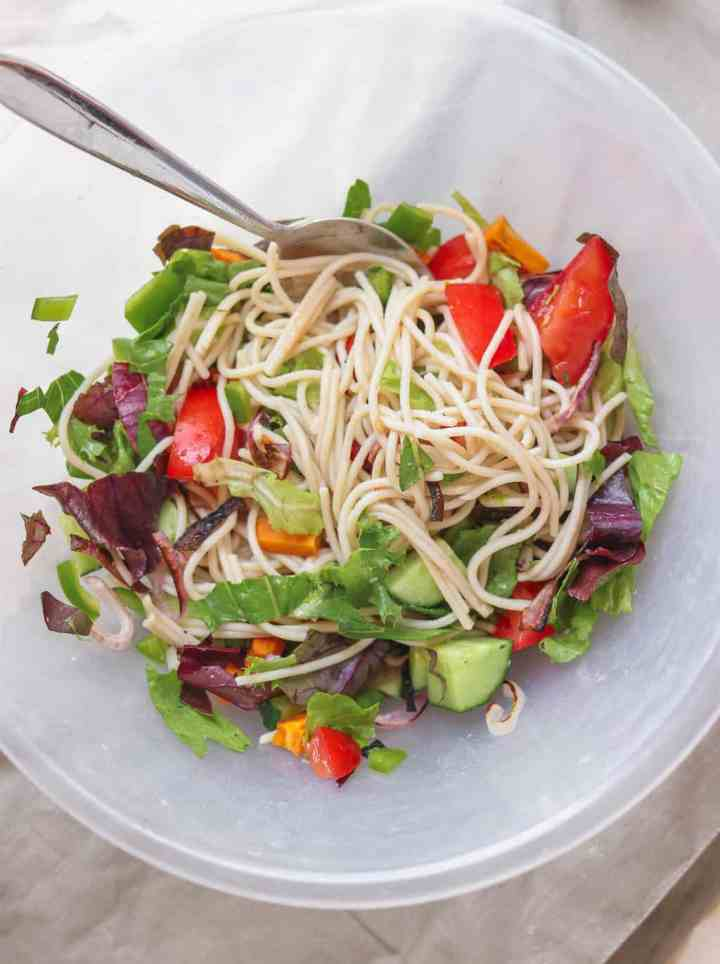 Vegan spaghetti with vegetables in a mixing bowl