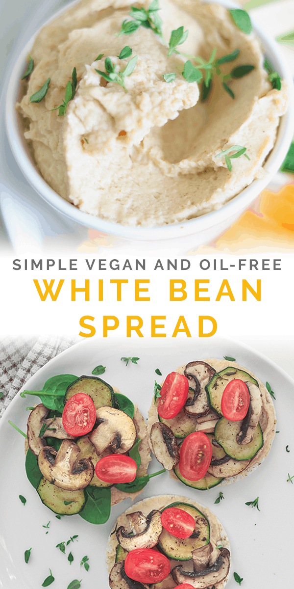 Simple vegan and oil-free white bean spread Pinterest image