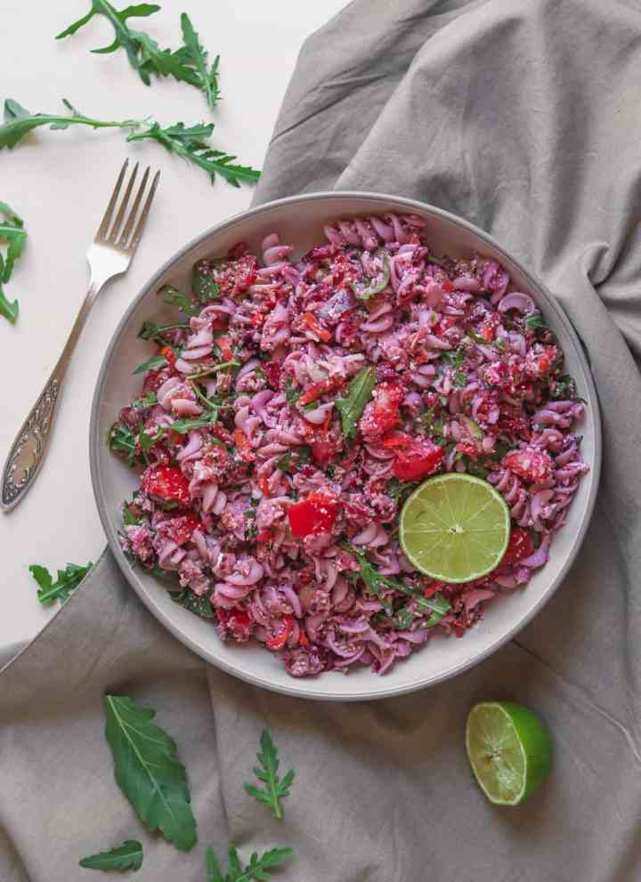Vegan Pasta Salad With Beetroot And Lentils – Easy Recipe