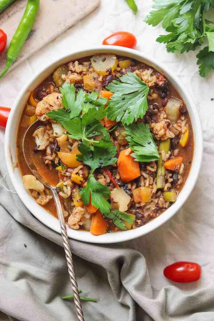 Vegan black bean rice soup with vegetables